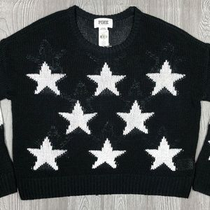 VS Pink Black Sweater with Stars Long Sleeve